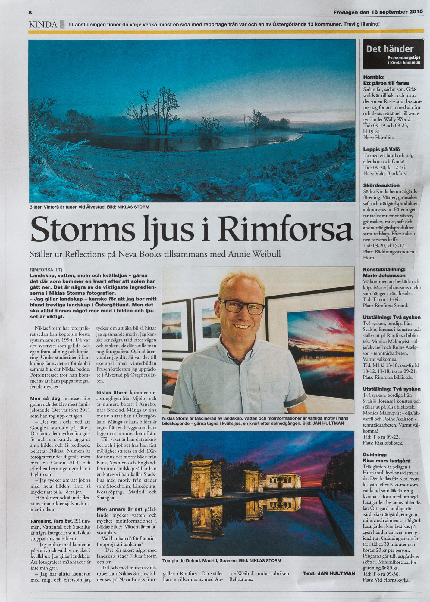 Intervju Länstidningen 2015-09-18