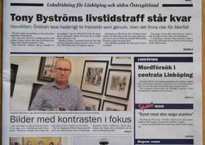 Framsida Linköpings Tidning / Kindaposten 2107-12-08